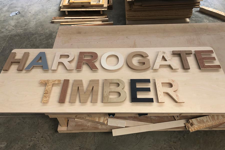 Harrogate Timber signage - cnt cut